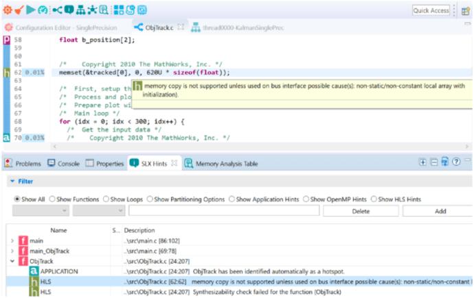 Optimize MATLAB C/C++ Code For HLS