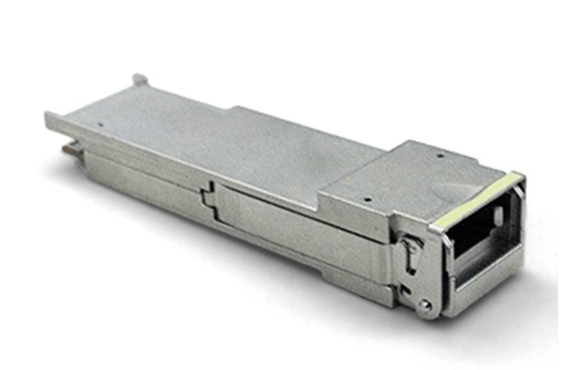 Fig. 1: A quad small-form-factor pluggable (QSFP) module. Source: Jesse Schulman/CC BY-SA 3.0