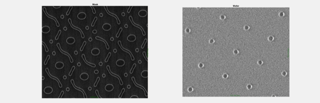 Fig. 1: (L) TrueMask ILT curvilinear mask SEM for different pitches and orientations, and (R) corresponding wafer print SEM. Source: D2S