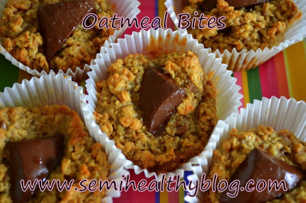 oatmeal bites with banana and heath bar via @semihealthnut at semihealthyblog.com