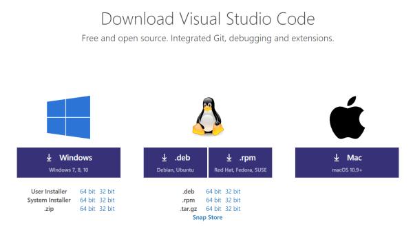 vscodeダウンロードページ