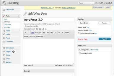 WordPress 3.0 Tela de Mensagem