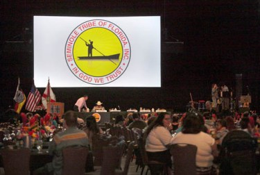 Tribal citizens gather Jan. 9 at the Hard Rock Live concert arena turned conference hall for the Tribe's annual shareholders meeting.