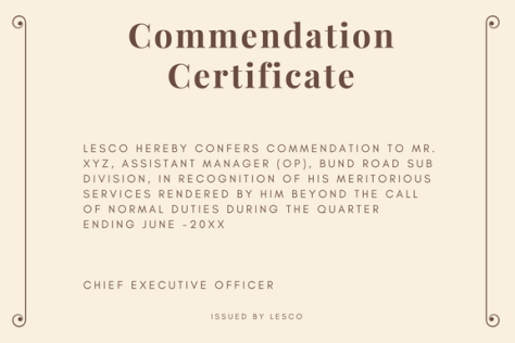 Certificate of appreciation format commendation certificate sample and wording yelopaper Image collections