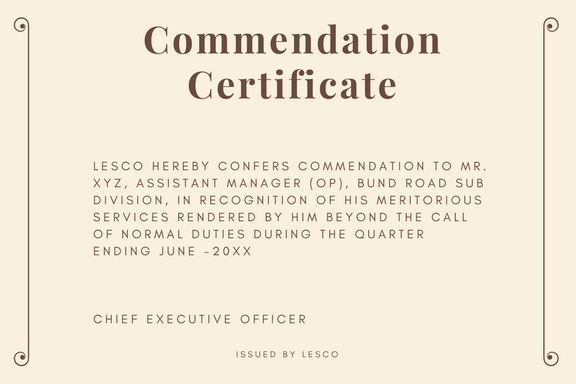 Commendation Certificate Sample and Wording