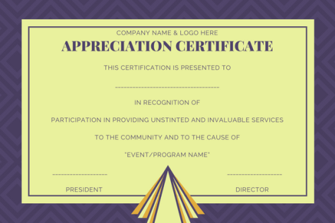 Certificate of appreciation format sample appreciation certificate yelopaper Images