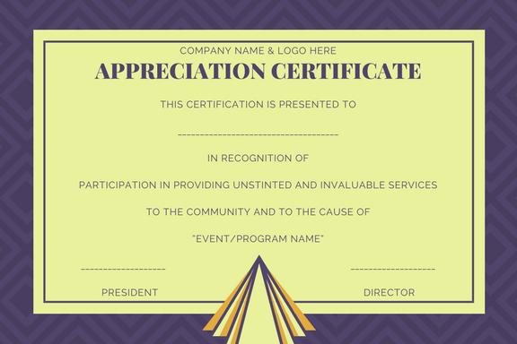 Sample Appreciation Certificate