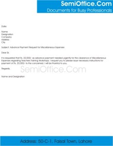 Advance Payment Request Letter Format