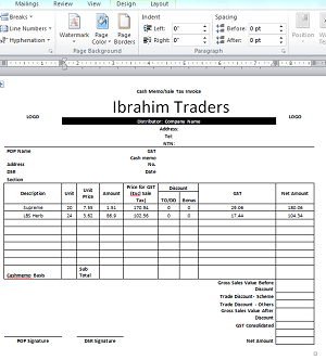 Cash Memo Format in Excel With Auto Calculations