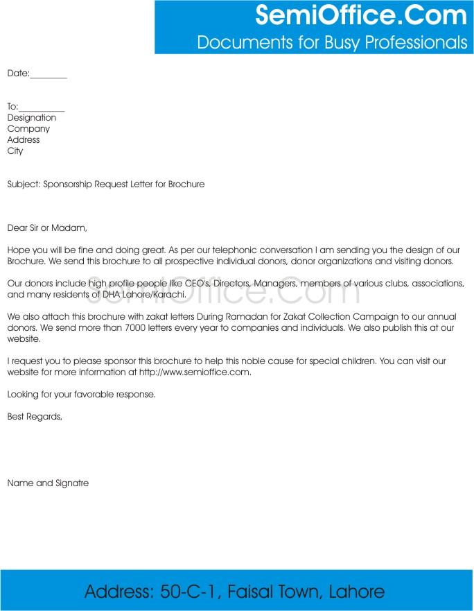 Sponsorship Request Letter for Magazine, or Brochure