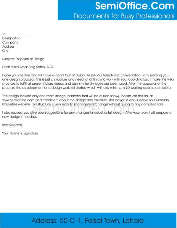 Cover Letter for Sending Business Proposal