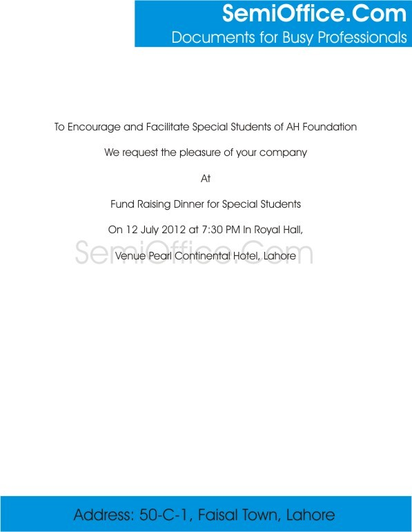 Dinner Invitation Card Format for Chief Guest