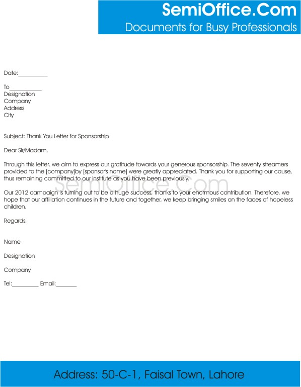 Thank You Letter for Sponsorship of Promotional Campaign