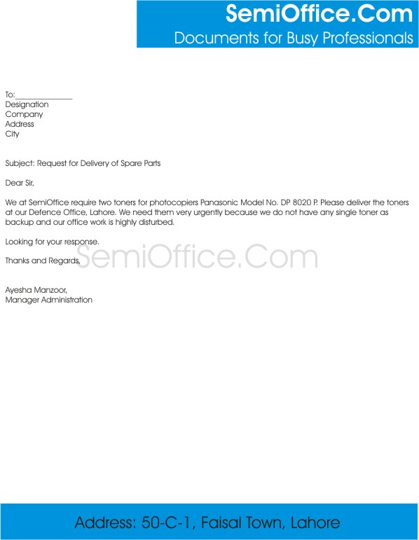 Request Letter For Delivery Of Spare Parts