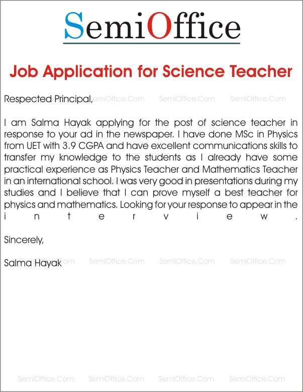 Job_Application_for_Science_Teacher Job Application Form Covering Letter Example on for any position, template word, for chef, for hotel, best example nursing, written form, interest sample,