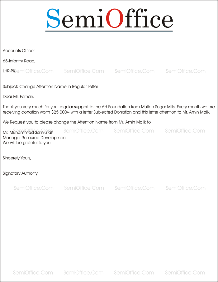 Request Letter For Name Change