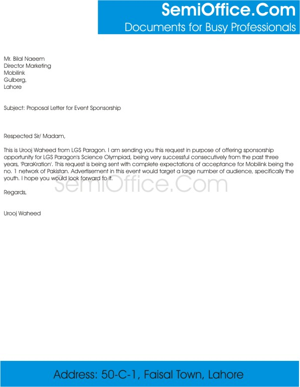 Sponsorship Proposal Letter Sample  BesikEightyCo
