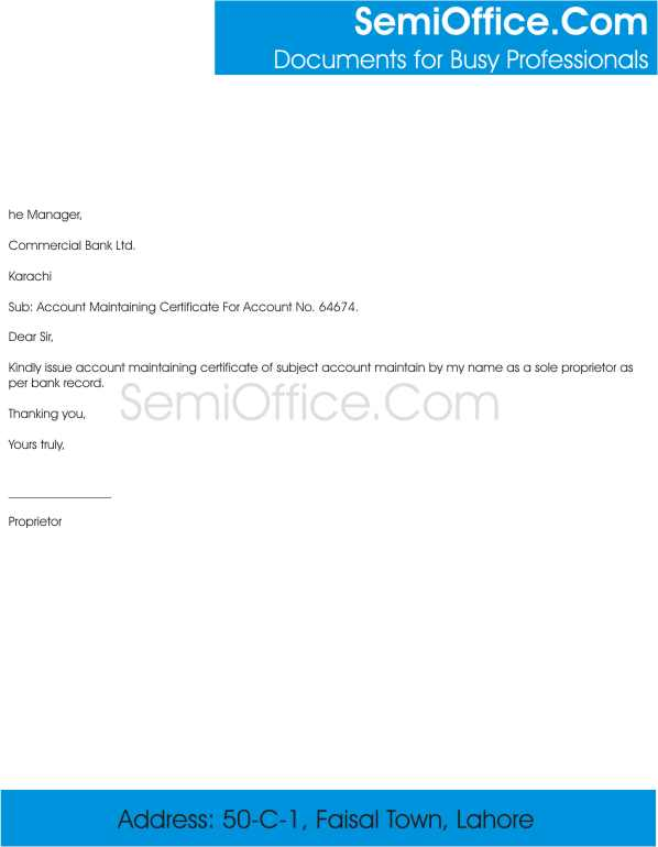 Account Maintaining Certificate Letter