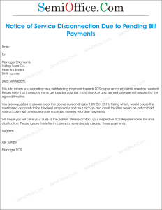 Sample Notice of Service Disconnection Due to Bill