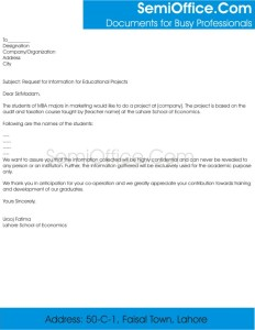Request Letter for Information Collection for Univeristy Projects