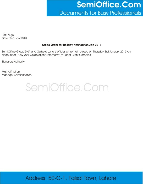 Sample Holiday Notification Letter Format for Office
