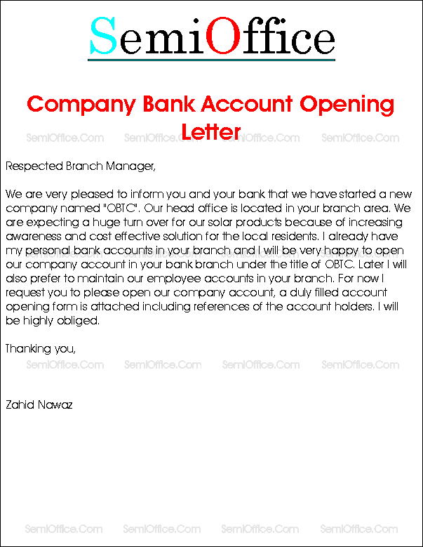 Letter To Open Company Bank Account ...