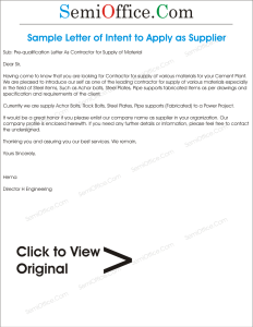 Sample Letter of Intent to Apply as Supplier