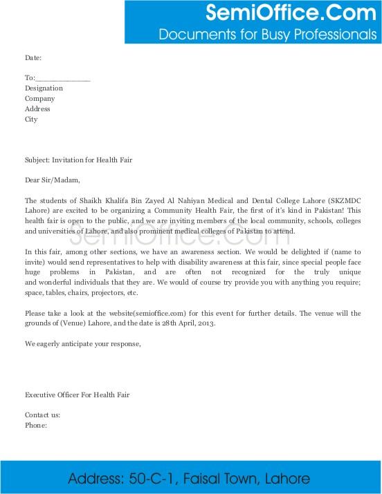Invitation Letter for Health Fair in Medical University