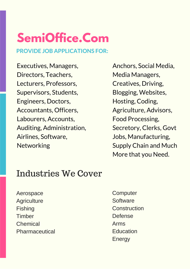 Job Applications for all professions available at Semioffice.com