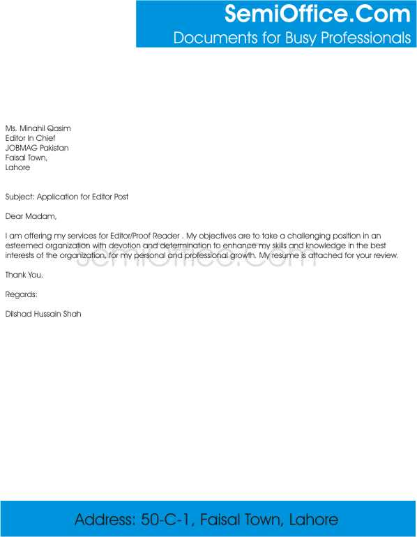 Cover Letter For Editor Position