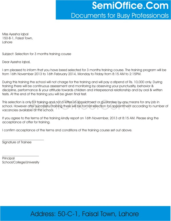 Employment Contract Letter Sample for Teachers, and Professors