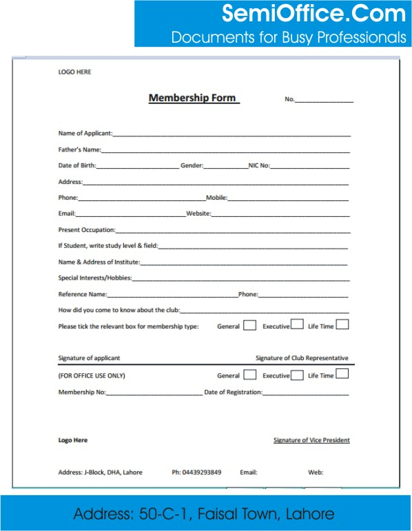 Membership form template word and excel for Membership form template doc