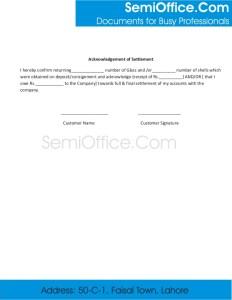 Acknowledgement of Settlement Statement