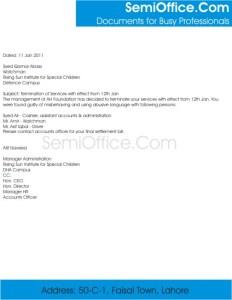 Job Termination Letter Format