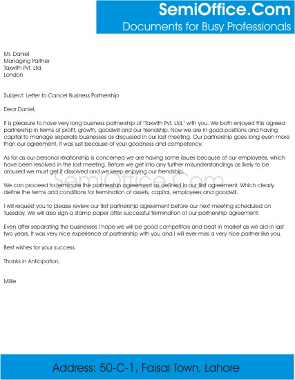Letter to cancel business partnership spiritdancerdesigns