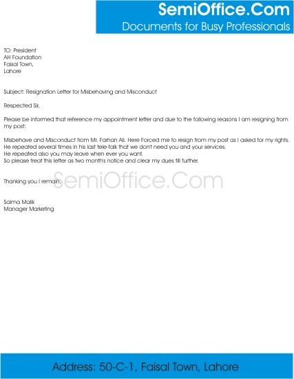 Resignation Letter for Misbehaving and Misconduct