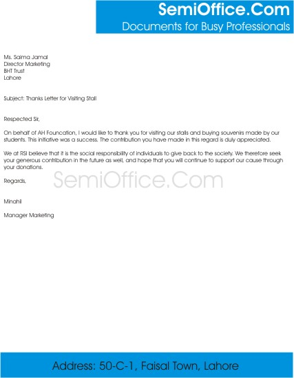 Thanks letter for visitors free download thanks letter for visiting stall stopboris Choice Image