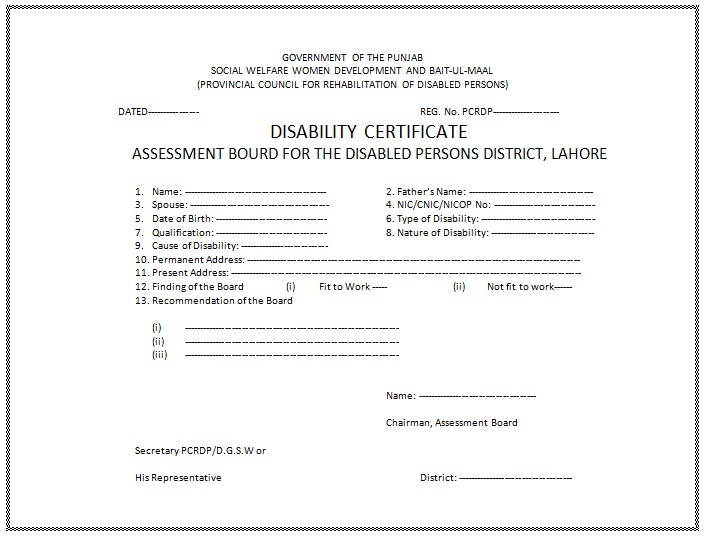 Disability Certificate Format In Word for Free Download ...