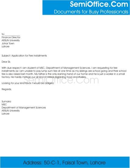 Application For Fee Installments In University