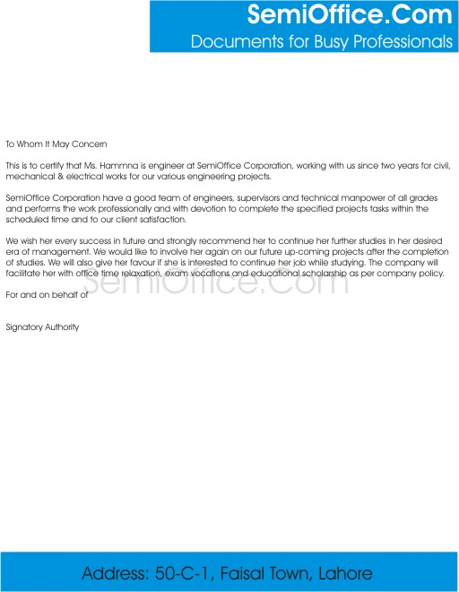 Letter Of Recommendation For Further Studies By Employer