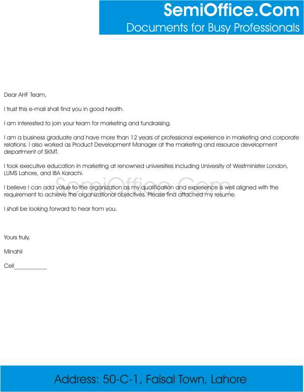 Covering Letter for Fundraising