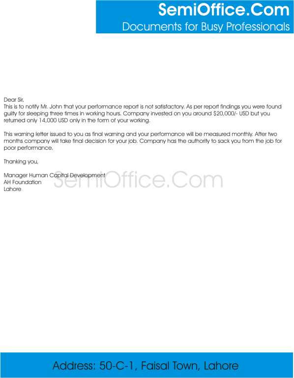 Employee Warning Letter Sample