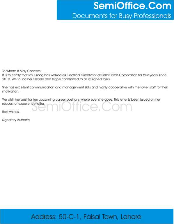 Experience Letter for Electrical Supervisor