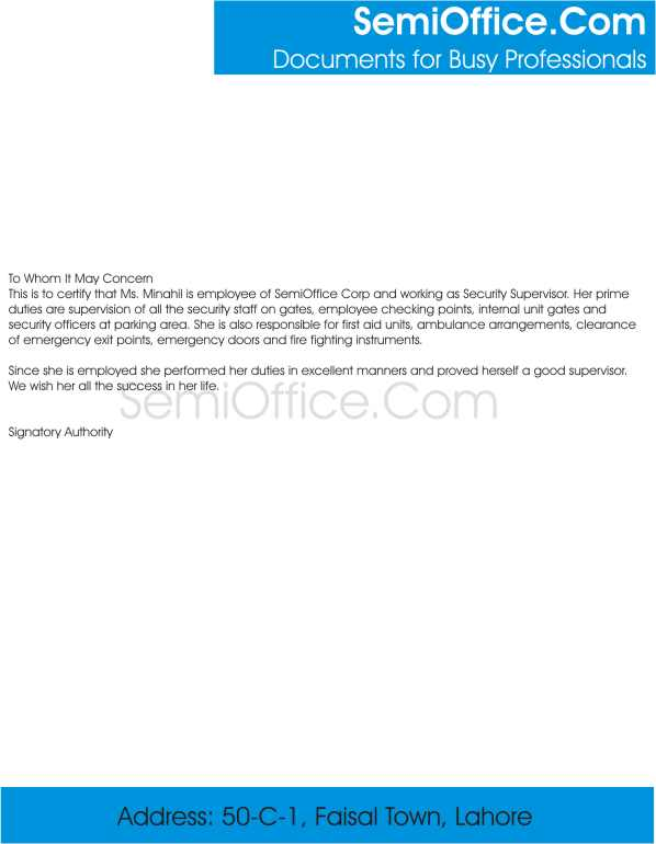 Experience Letter for Security Supervisor