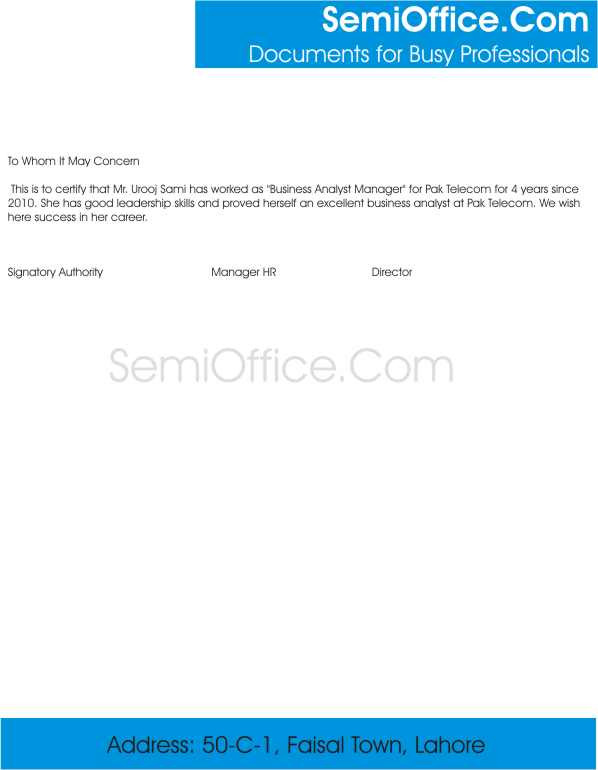 Experience Letter for Business Analyst Free Format