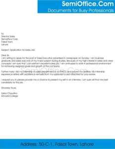 Job Application for Sales Executive