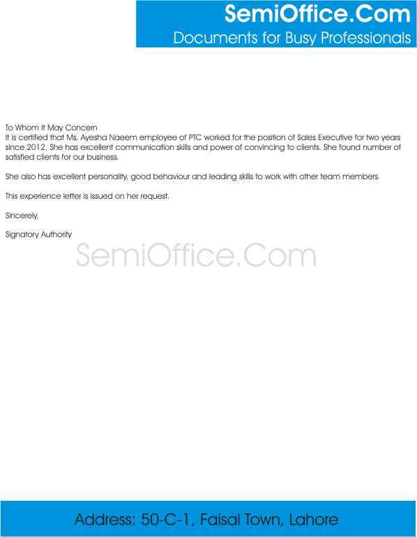 experience letter format for sales executive to whom it may concern