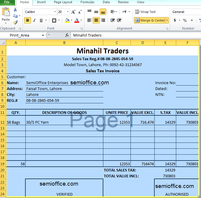 sales bill format excel