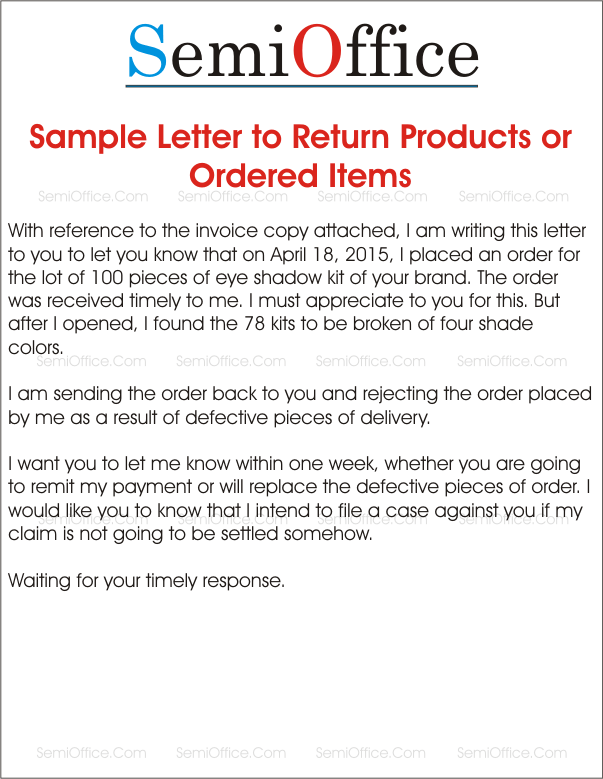 Sample letter to return products or ordered items return ordered products letter to supplier spiritdancerdesigns Image collections