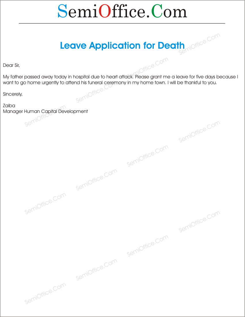 Leave Application for Death